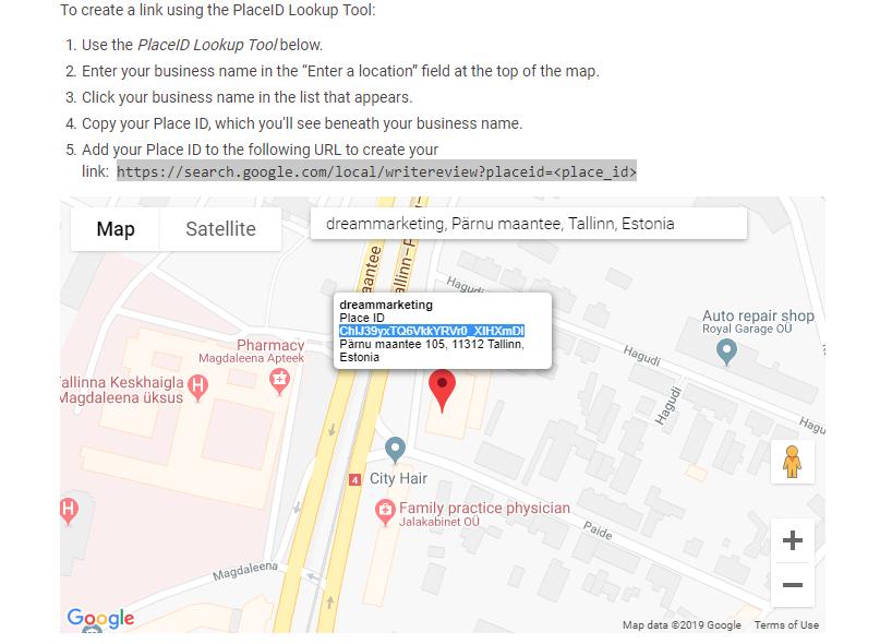 1a8e9a58b06 Kuidas aga muuta tagasiside küsimine võimalikult lihtsaks kliendi jaoks?  Üks varjant on genereerida link, kasutades Google PlaceID Lookup tööriista.